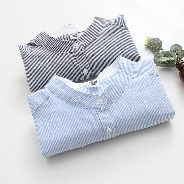 Для женщин 2019 Блузы сезон: весна–лето синий серый полосатый тонкий Blusas Модная рубашка с длинными рукавами Дамы топы Camisas Mujer 100% хлопок