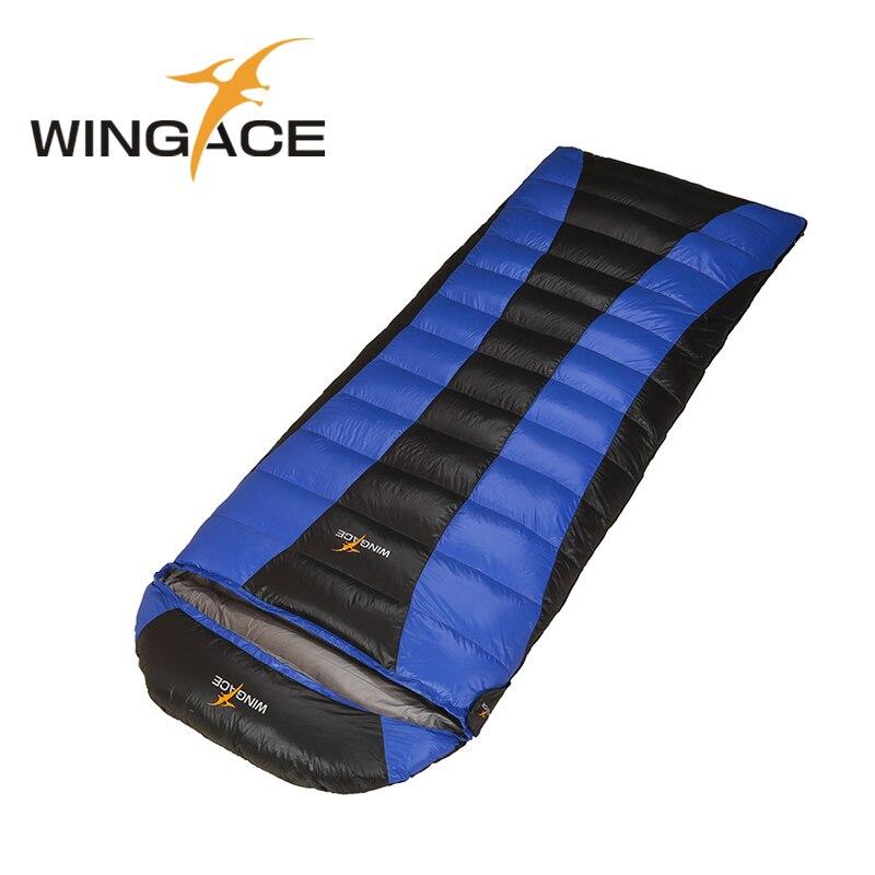 WINGACE Fill 2000G 2500G 3000G 3500G Envelope Duck Down Sleeping Bag Outdoor Camping Hiking Hooded Winter Sleeping Bag