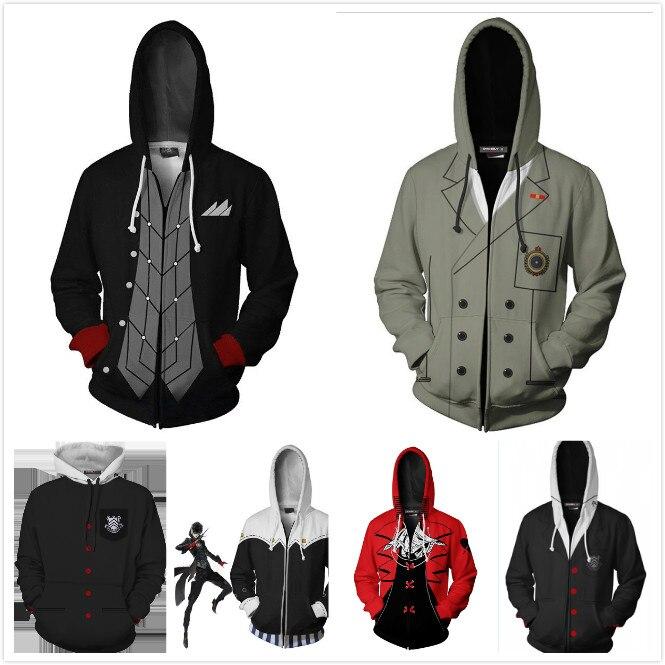 Persona5 P5 Joker Cosplay Costume Zip Hoodie Jacket Sweatshirt Sweater Coat