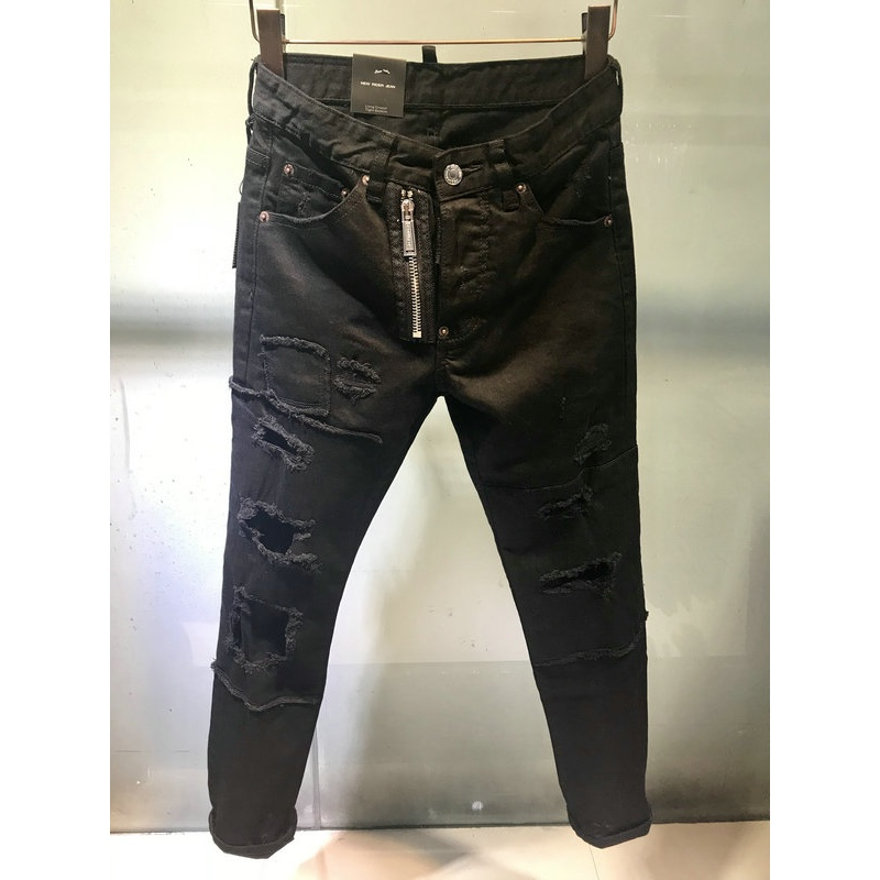water washing Ripped Jeans Men Holes Denim Super Skinny Mens Casual Stretch Jeans Trousers Slim Fit Scratched Pants More style