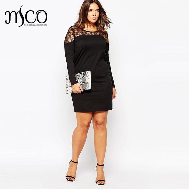 45618b1ae9f 2016 Brand Elegant Autumn Long Sleeves Dress Sexy Lace Mesh Yoke Black Tunic  Dresses Plus Size Women Clothing 5XL 6XL