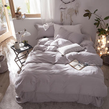 Ultra Soft Breathable Lightweight Cotton Linen Bedding Solid Pink White Bedding Queen King size Bed sheet Fitted Pillow shams