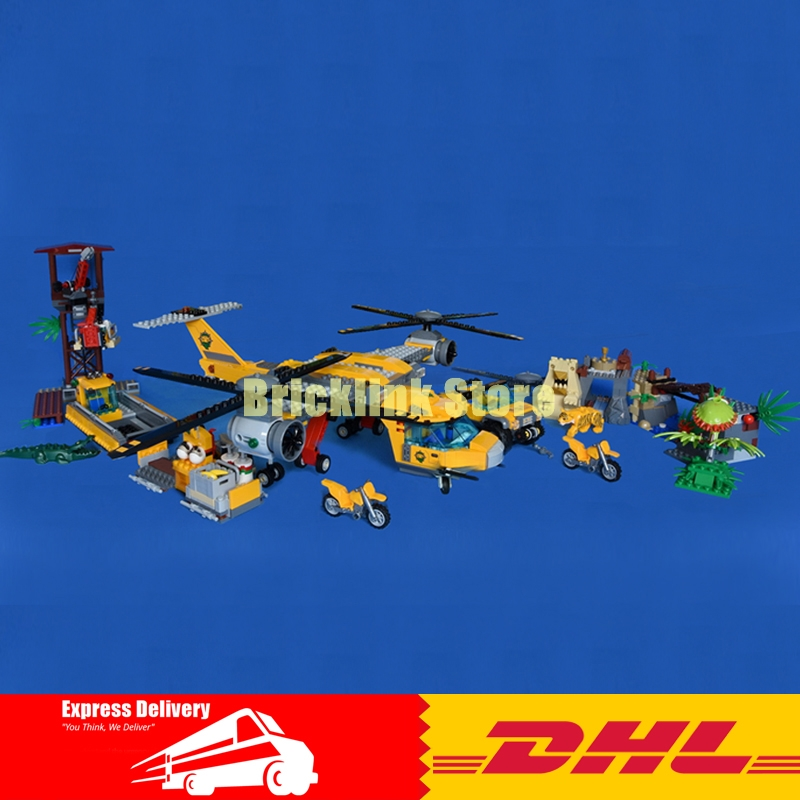 In Stock Lepin 02085 City series Jungle Air Drop Helicopter Educational Building Blocks Bricks Model Toys Clone 60162 in stock lepin 02012 774pcs city series deepwater exploration vessel children educational building blocks bricks toys model gift