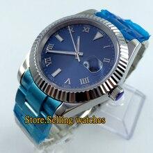 40mm parnis esfera azul cristal de zafiro automático de acero de los hombres Reloj de PULSERA