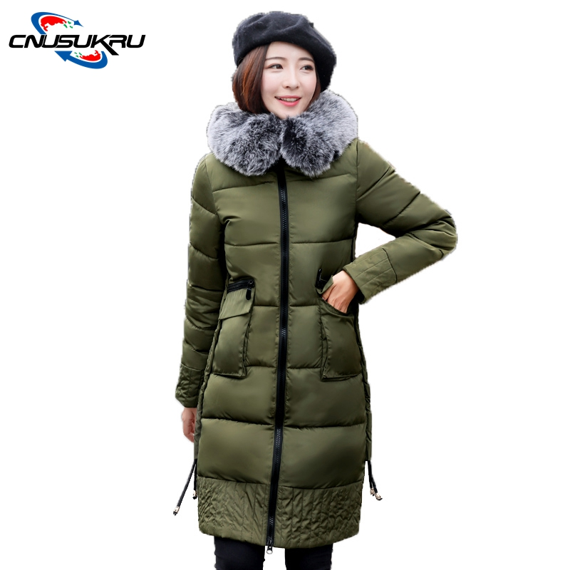 2017 thick Warm cotton-padded Long outerwera Fake Fur Hooded collar parka winter jacket womens coat 3XL  Large size down jacket 2017 winter new coat womens long slim hooded large fur collar thick cotton warm jacket for female zipper pattern epaulet padded