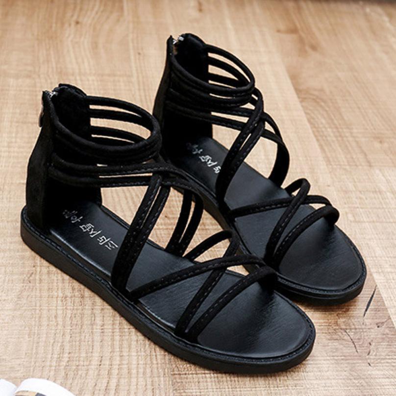 women Sandals Women Flat Shoes Bandage Bohemia Leisure Lady Casual Sandals Peep-Toe Outdoor Chaussures Femme 2018 hot sale 5