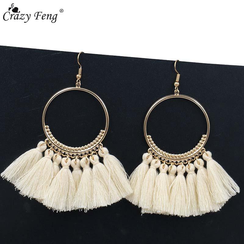 Handmade Tassel Earrings for Women Ethnic Big Drop Earring Bohemia Fashion Jewelry Trendy Cotton Rope Fringe Long Dangle Earings(China)