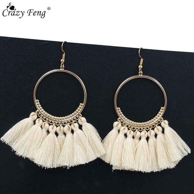 Handmade Tassel Earrings for Women Ethnic Big Drop Earring Bohemia Fashion Jewel