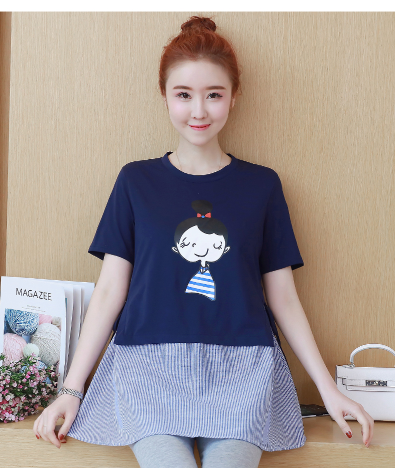 Cartoon Maternity Tops Tee for Pregnant Women Clothes Cotton Shorts Sleeve Top Pregnancy Clothing Casual Gravida Wear C228