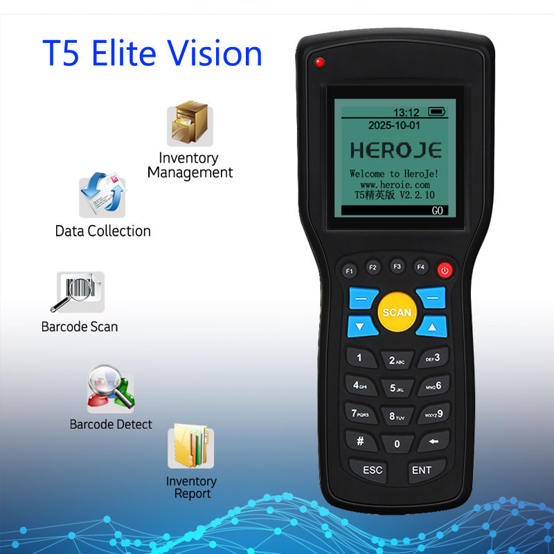 1D Heroje T5 Elite Visão Sem Fio 433MHz Scanner de código de Barras Coletor de Dados de Gerenciamento de Inventário EAN13 1D Com Motor de Busca