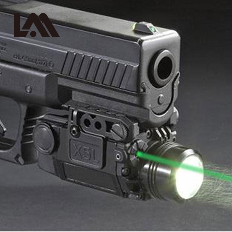 2in1 Tactical X5L LED Flashlight Combo Green Laser Sight Universal Pistol Gun Mira Laser Pistola For Airsoft Glock 17 19 Series