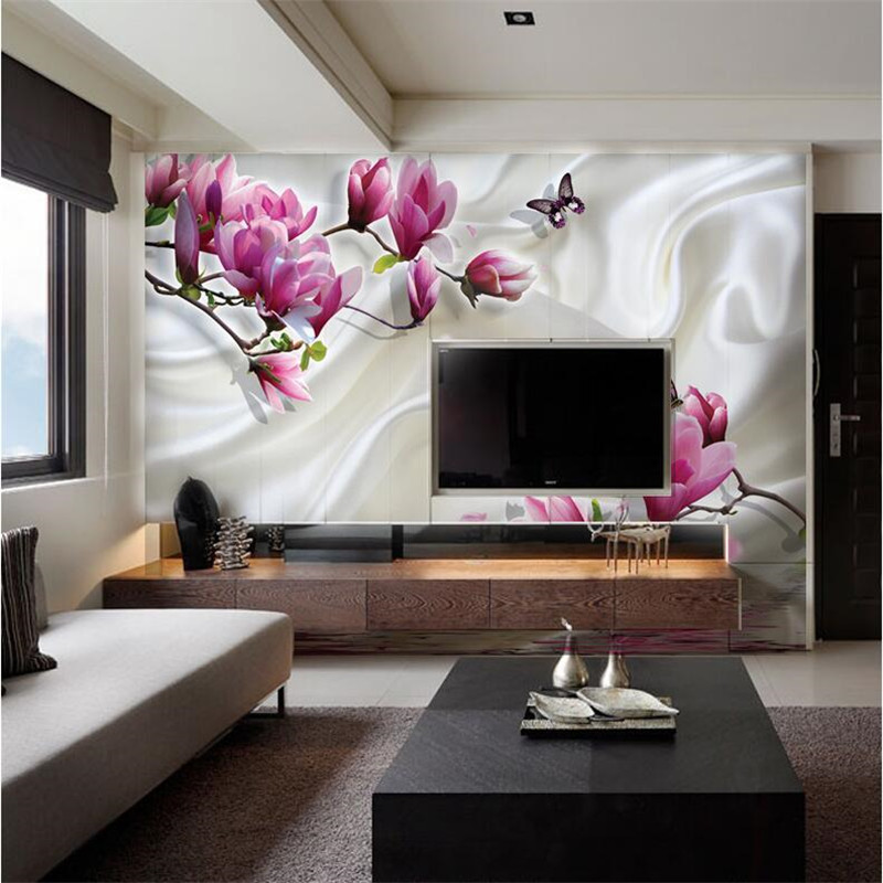 Beibehang 3D photo paper wallpaper paint wall minimalist modern romantic  sofa in green room Magnolia muralCompare Prices on Wallpaper Paint  Online Shopping Buy Low Price  . Cost To Paint A Large Living Room. Home Design Ideas