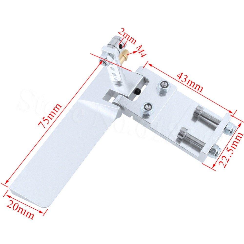 Aluminum RC Model Boat Water Rudder 75mm Long with Pickup Suction Inlet For Remote Control Model Parts CNC aluminum alloy 160 single rudder length 90mm height 160mm with long double water pickups for 26cc boat