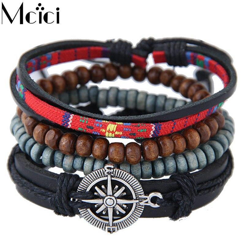 Europe Style Ethnic Multilayer Leather Bracelets M...