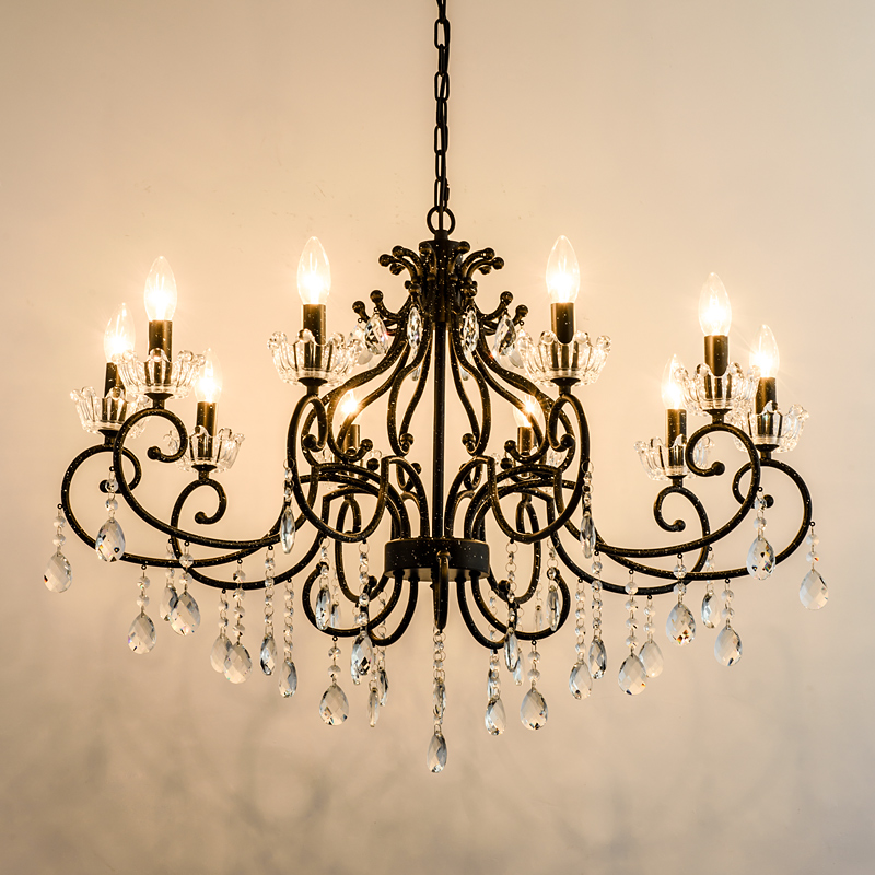 Wrought Iron Chandelier Crystal
