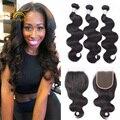 Real 8a Virgin Hair Brizilian Body Wavy Hair 3bundles With Closure Mink brazilian Body Wave hair with closure Cheap Lace Closure