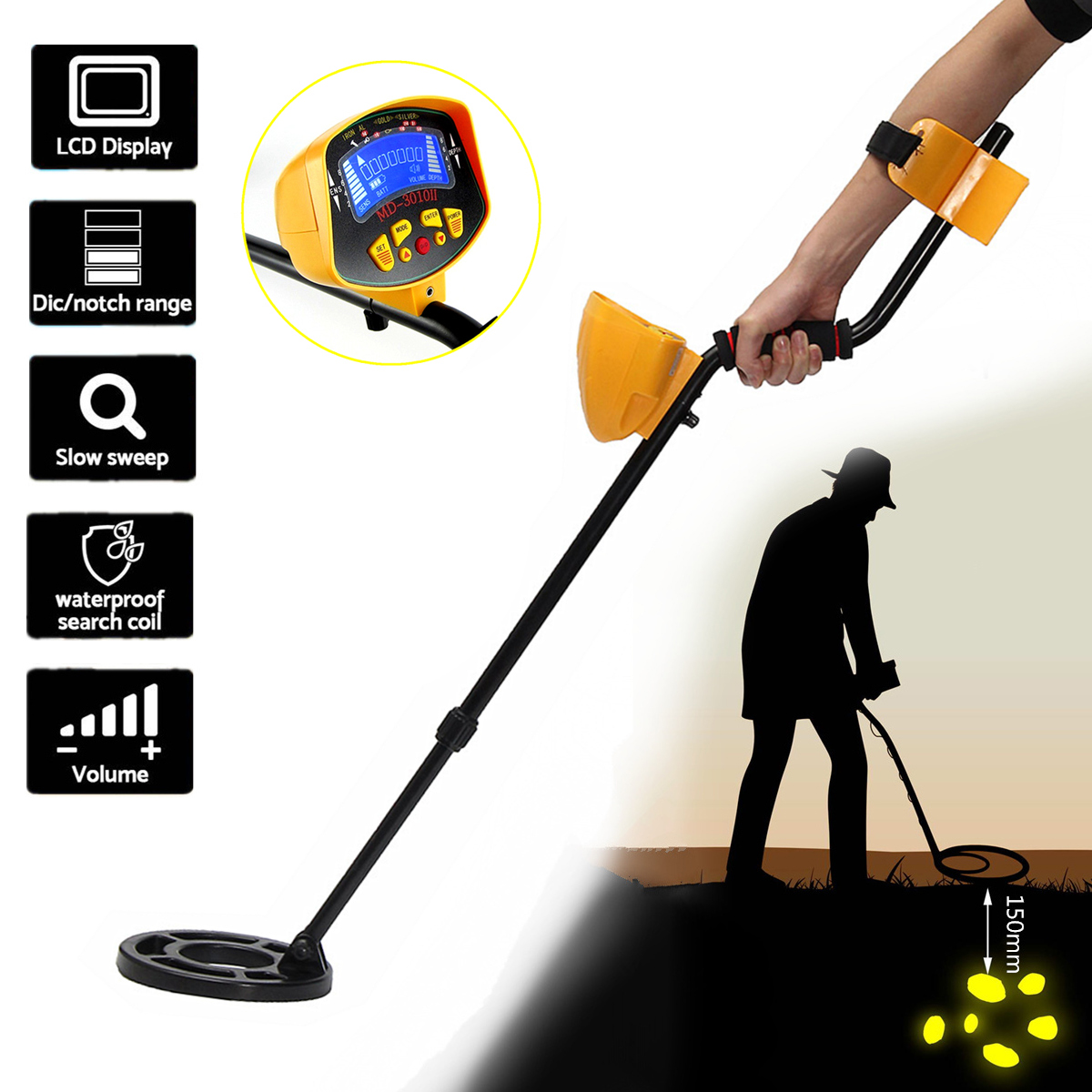 Professional Metal Detector Underground Depth Scanner Search Finder Gold Detector Treasure Hunter Detecting Pointer Waterproof new underground metal detector search scanner pinpointinter gold detector treasure hunter pinpointer finder wiring detector