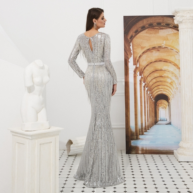 Gray Sequin Evening Dresses 2019 Mermaid Full Sleeves Long Keyhole Back With Tassel Robe Femme Shiny Floor Length Evening Gowns 1