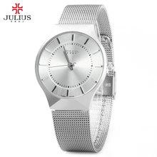 Wach de moda de Primeras Marcas de Lujo JULIUS Relojes de Los Hombres Correa de Acero Inoxidable Reloj de Cuarzo Ultra Delgado Reloj Dial Hombre Relogio masculino