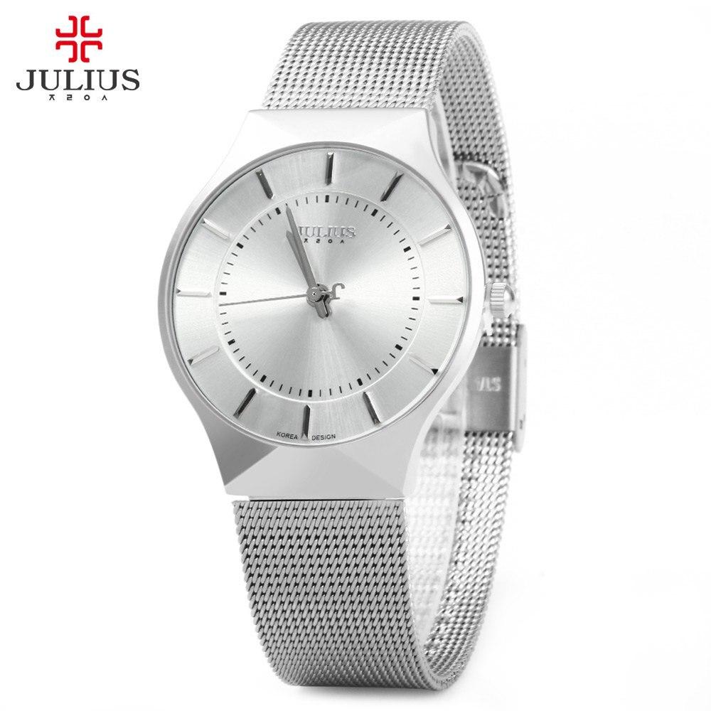 Prix pour Wach de mode Top Marque De Luxe JULIUS Montres Hommes Inoxydable Bracelet En Acier Quartz Montre Ultra Mince Cadran Horloge Homme Relogio Masculino