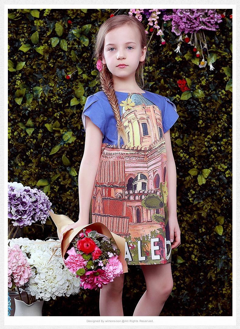 Girls Summer Dress 2017 Brand Kids Costume Princess Dress Print Vestido Infantil Children Dresses for Girls Clothes aile rabbit fashion girl dress set girls summer dresses 2017 brand kids coat dress princess costume vestido infantil children