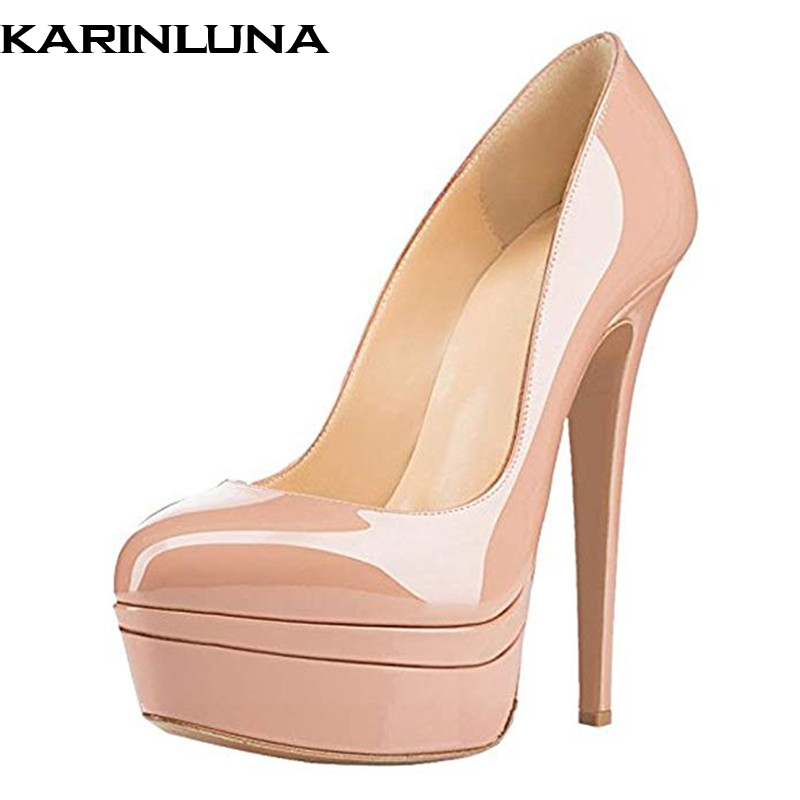 Karinluna 2019 plus size 45 brand design patent leather party women Shoes sexy super high heels platform wedding pumps womanKarinluna 2019 plus size 45 brand design patent leather party women Shoes sexy super high heels platform wedding pumps woman