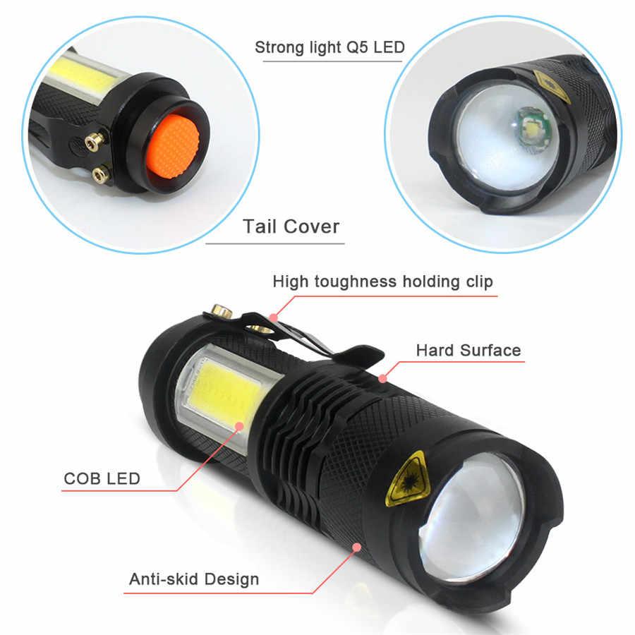 Portable Mini Glare Flashlight XPE Q5 COB LED Clip 14500//AA Torch Light Lamp
