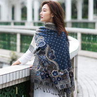 India hijab scarf women handmade beaded embroidery fashion evening dress shawl autumn and winter Nepal wool scarf for ladies