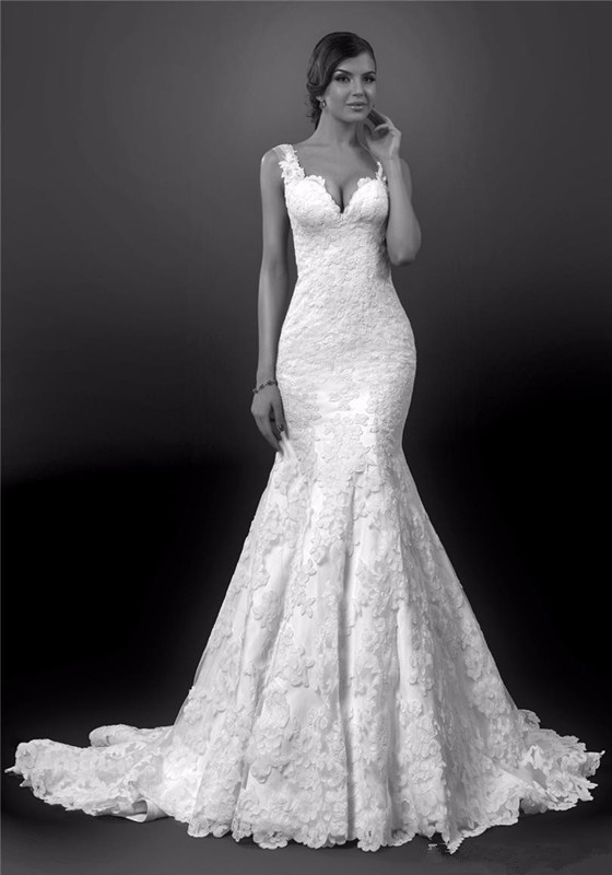 Y Mermaid Wedding Dress New Style Spaghetti Strap Thick Lace Backless Dresses With Court Train In From Weddings Events On