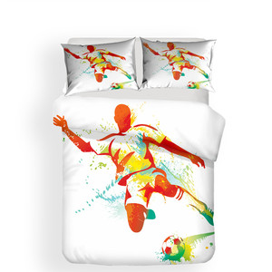 Image 2 - ชุดเครื่องนอน 3D พิมพ์ผ้านวมคลุมเตียงชุดฟุตบอลบ้านสิ่งทอสำหรับผู้ใหญ่เหมือนจริงผ้าปูกับปลอกหมอน # ZQ01