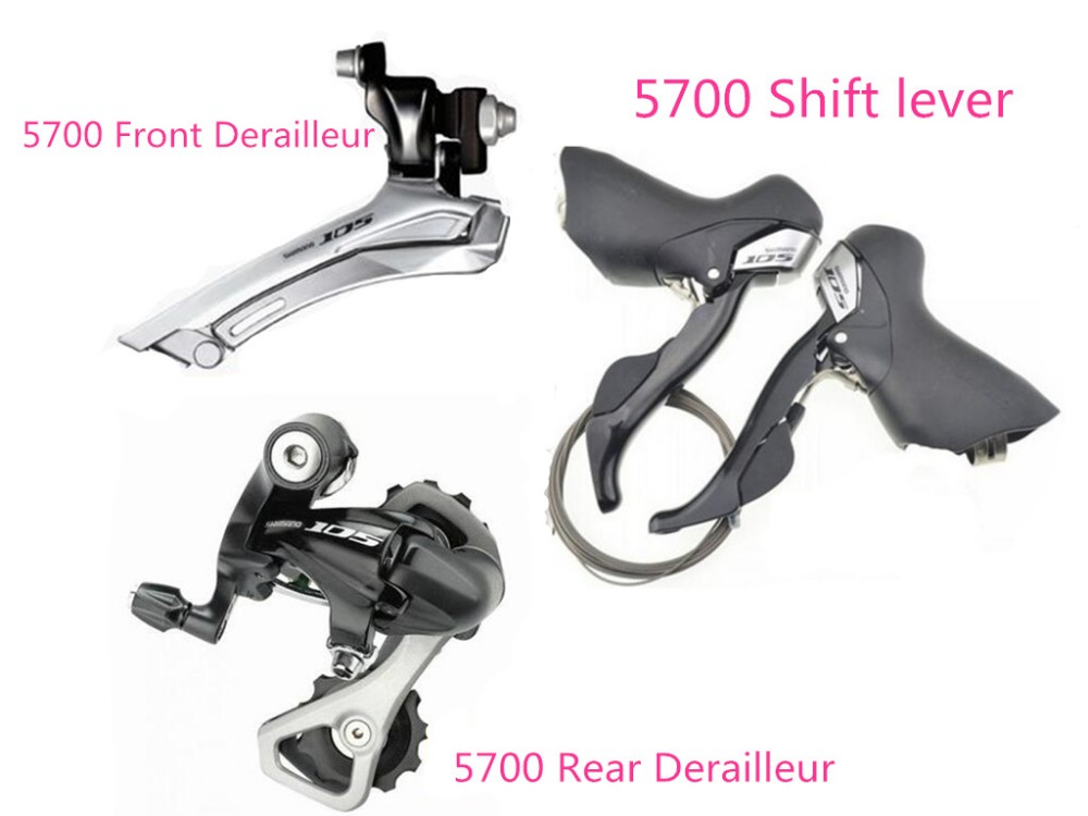 SHIMANO 105 5700 20 speed groupset 3 pcs Rear Derailleur+front Derailleur+shifter lever for road bike bicycle microshift 7 speed sb r472 2x7s shifter double 14 speed derailleur road bike bicycle shift lever set compatible for shimano