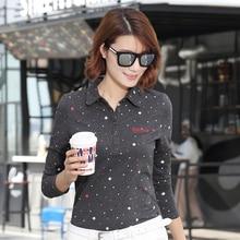 Women Polo Shirts Long Sleeve  M-4XL Plus Size 4 Buttons Turndown Collar 3 Dark Colors Drop Shipping