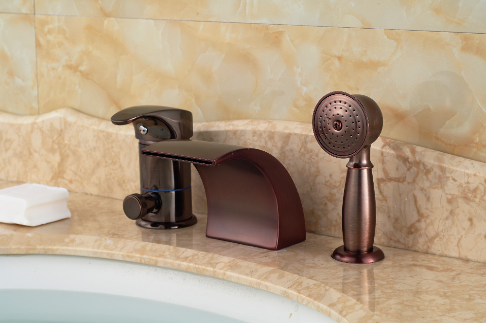 Luxury Oil Rubbed Bronze Roman Waterfall Tub Faucet 3 PCS Sink MIxer ...
