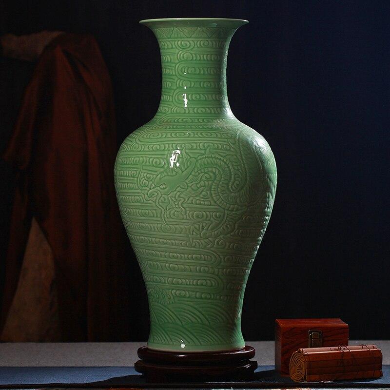 Ceramics shadow blue glaze color glaze floor vase dragon sculpture modern home accessories decoration ornamental vases vase