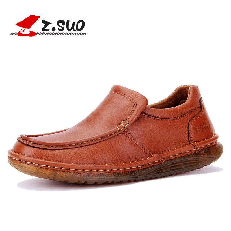 ФОТО Z.Suo Men Leather Loafers British Casual Shoes Top Quality Handmade Slip On Mens Genuine Leather Flat Shoes Black Red ZS507