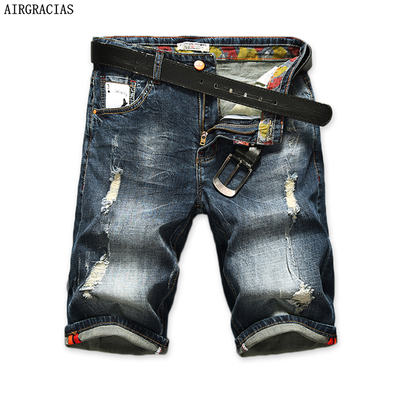 AIRGRACIAS Mäns Ripped Short Jeans Rak Retro Shorts Jean Bermuda Man 98% Bomull Sommar Denim Shorts Plus Storlek 28-40