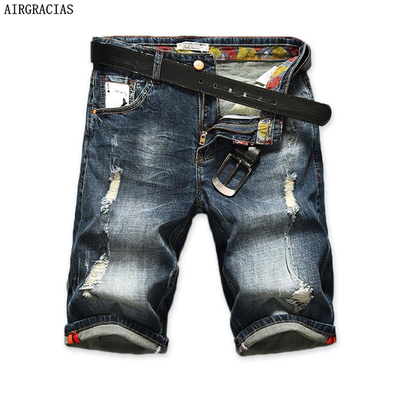 AIRGRACIAS Men's Ripped Short Jeans Straight Retro Shorts Jean Bermuda Male 98% Cotton Summer Denim Shorts Plus Size 28-40