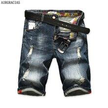 AIRGRACIAS erkek Yırtık kısa kot pantolon Düz Retro Şort Jean Bermuda Erkek % 98% Pamuk Yaz Kot Şort Artı Boyutu 28- 40