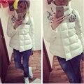 2016 Casaco de Inverno Quente Mulheres Strass Jaqueta Wadded Feminino Jaqueta Pato Branco Para Baixo Plus Size Roupas Femininas D833