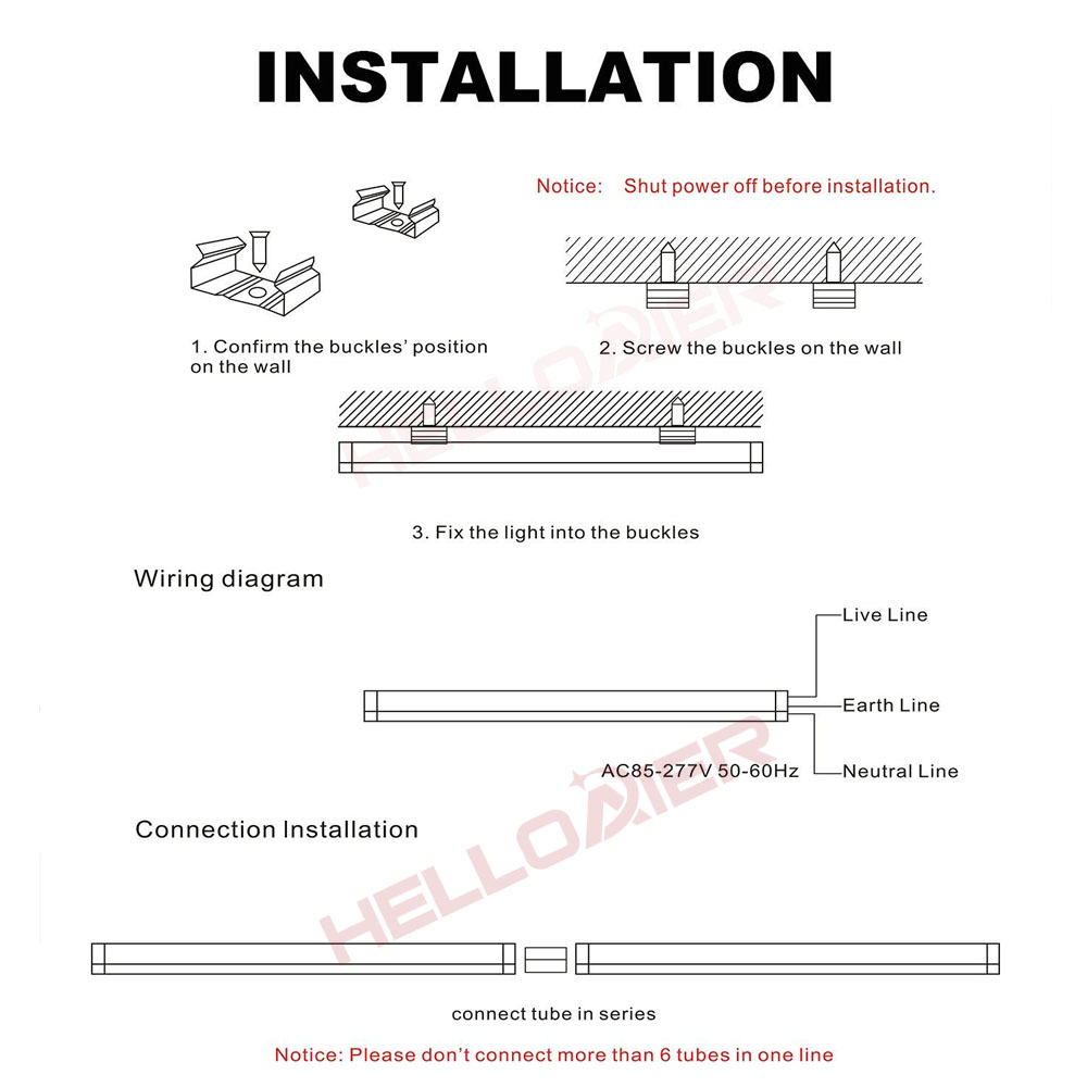 Led Shop Light 4ft T5 Tube Lights Ceiling Lighting Fixture Wiring Diagram For 6 Bulb Garage Kitchen Room Power Wire With Switch Stock In Usa Bulbs Tubes From
