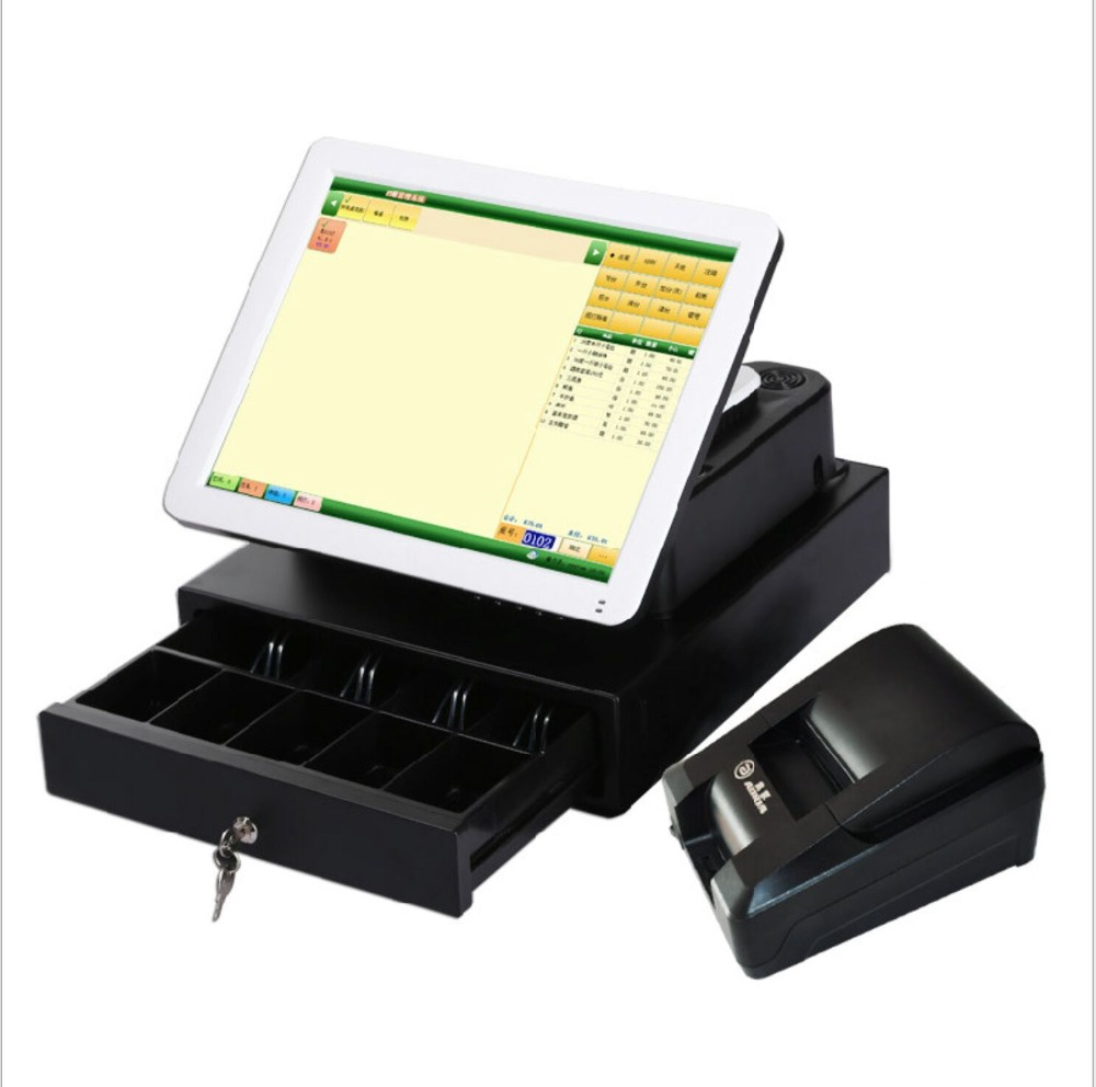 15 inch Fanless All in one POS Terminal for restaurants with  Small ticket printer, cash box, guest display ,500G SSD15 inch Fanless All in one POS Terminal for restaurants with  Small ticket printer, cash box, guest display ,500G SSD