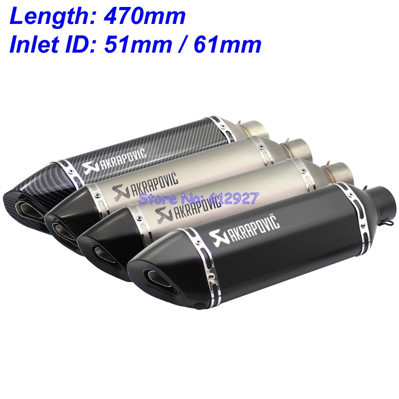 Length 470mm Inlet 51mm 61mm Motorcycle Motorbike Universal Exhaust Pipe Muffler Escape Akrapovic Laser Marking with DB Killer