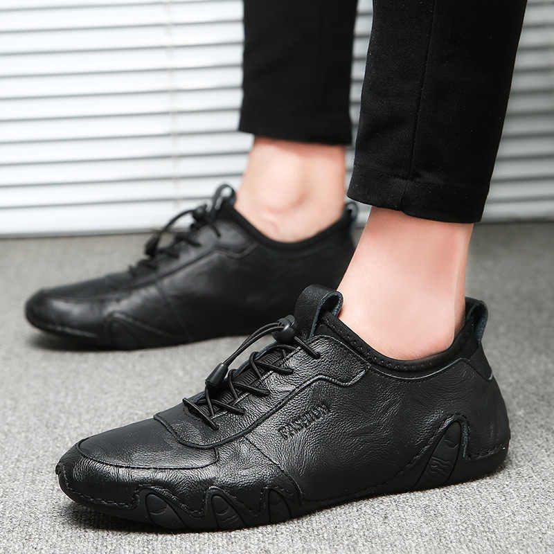 Erkekler rahat ayakkabılar 2018 Yeni Erkek Hakiki deri ayakkabı Bahar Sneakers erkek ayakkabı kayma Kauçuk sürüş ayakkabısı Moda Dantel-up
