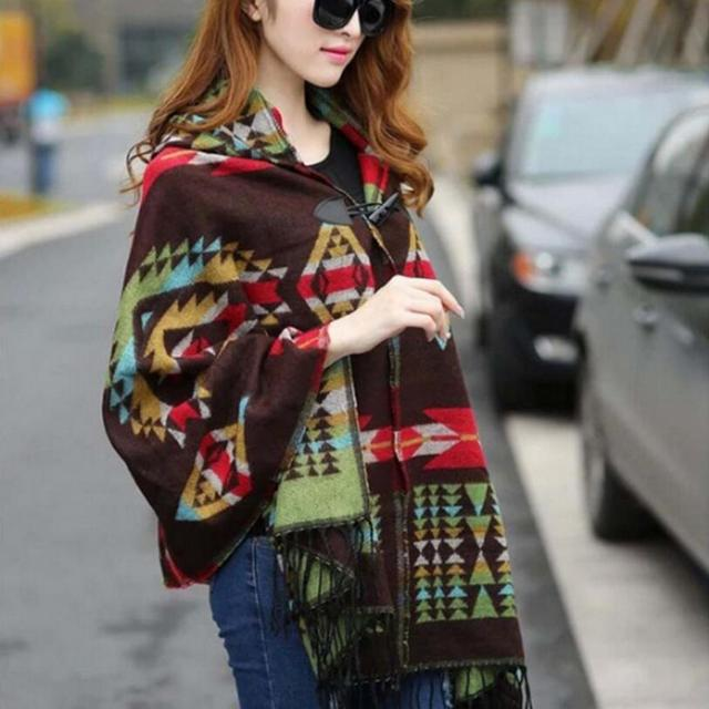 2016 Female Imitation wool scarves Ethnic thickening hooded scarf shawl cape cloak Bohemia women winter scarves tassel decorate