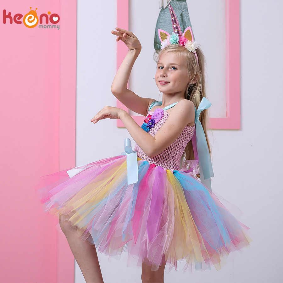 أطفال بنات يونيكورن توتو فستان مع عقال الركبة طول الباستيل قوس قزح زهرة فتاة فستان أطفال هالوين حفلة زي