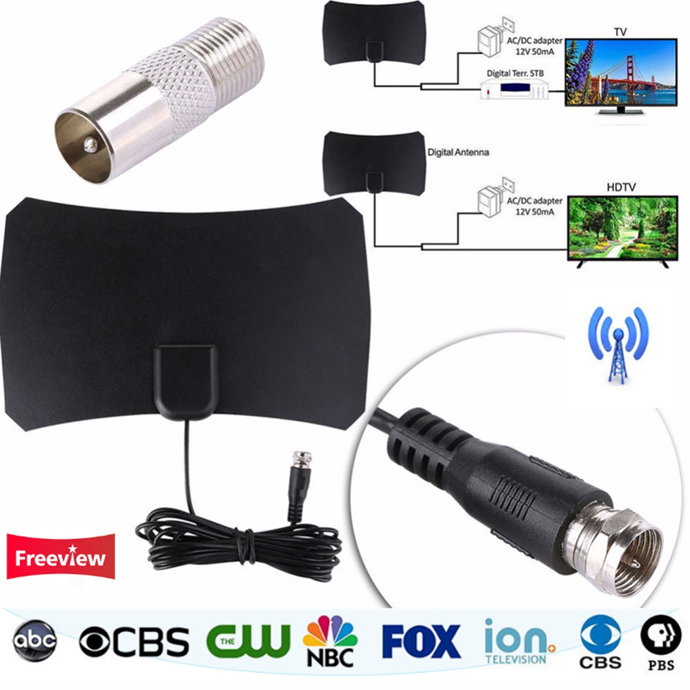 Digital HDTV Freeview Indoor TV Antenna For DVB-T/DVT-T2 VHF UHF HDTV Antena with TV Aerial Amplifier 50 Mile Range TV Receiver