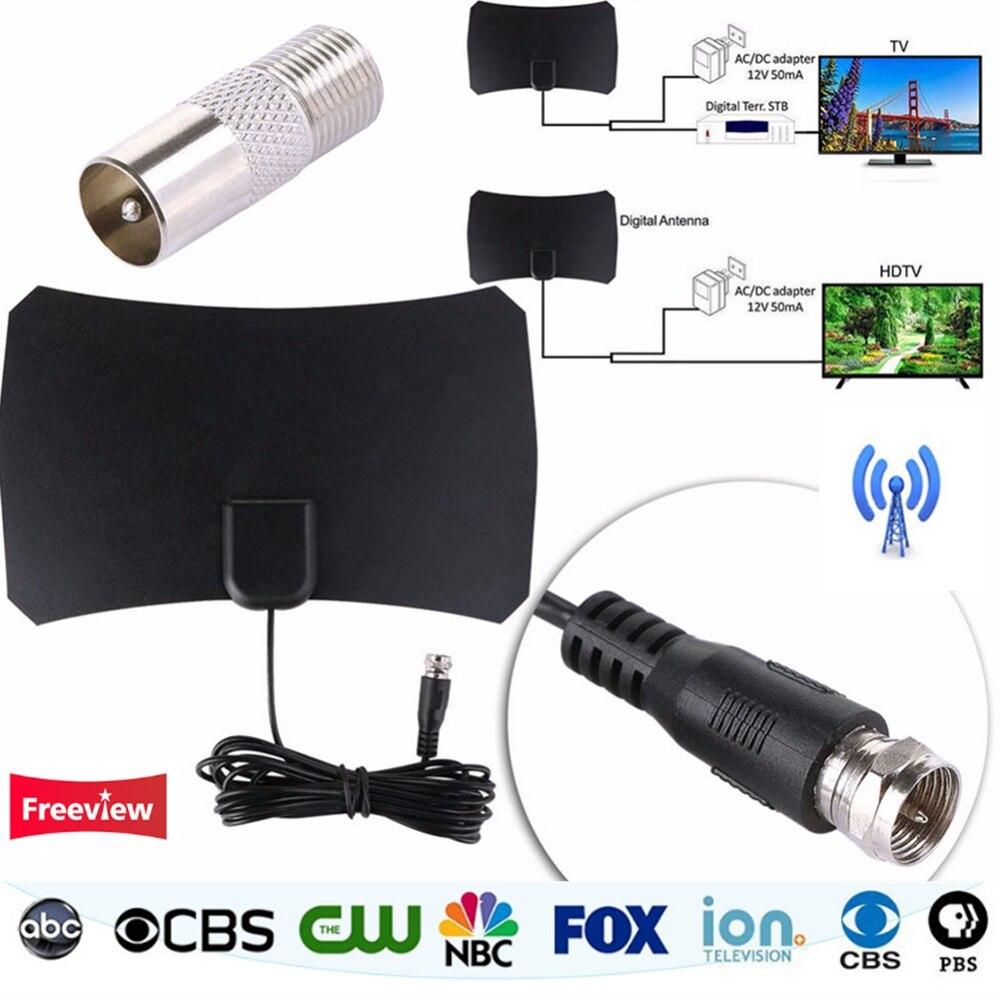 Digitale HDTV Dvb-t Indoor-tv-antenne Für DVB-T/DVT-T2 VHF UHF HDTV Antena mit TV Antenne Verstärker 50 Mile Reichweite TV empfänger
