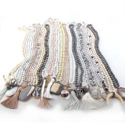 Оптовая продажа 20 шт смешанных цветов белый/бежевый/серый ожерелье ручной работы женские ювелирные изделия М