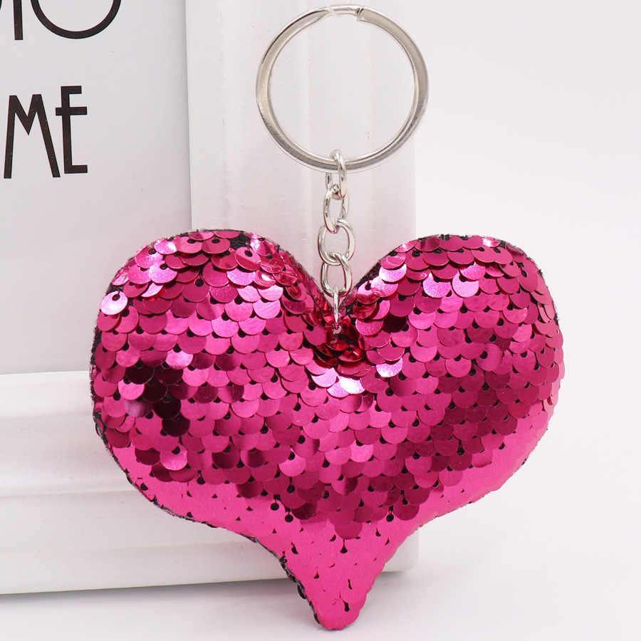 1 PCS Bonito Pompom Glitter Lantejoulas Presentes Anel Chave Chaveiro Coração para As Mulheres Llavero Chaveros Encantos Acessórios do Saco Chave Do Carro cadeia