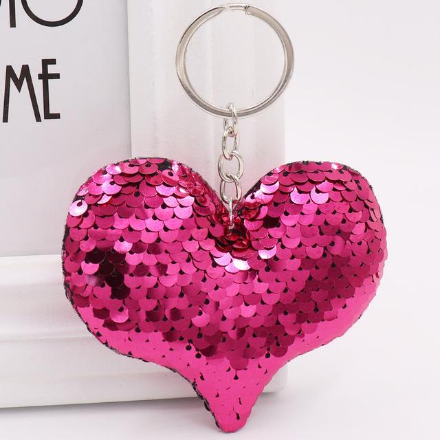 1 Uds. Llavero corazón lindo pompones con brillo lentejuelas Llavero regalos para mujeres Llavero Chaveros encantos bolso y accesorios para coche Llavero